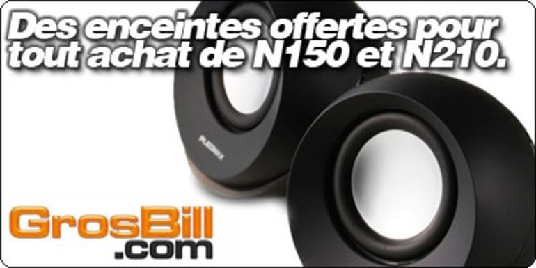 Des enceintes Pleomax offertes pour tout achat d'un netbook N150 et N210 sur Grosbill.com