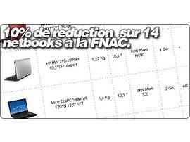 10% de réduction pour une sélection de 14 netbooks à la FNAC.