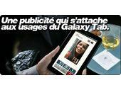 Une publicité qui s'attache aux usages du Galaxy Tab.