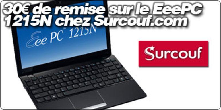 30€ de remise sur le EeePC 1215N chez Surcouf.com