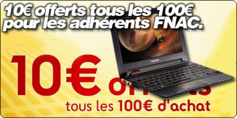 10€ offerts tous les 100€  pour les adhérents FNAC.