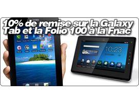 """10% de remise sur la Galaxy Tab, Folio 100 et le MacBook Air 11.6"""" à la Fnac"""