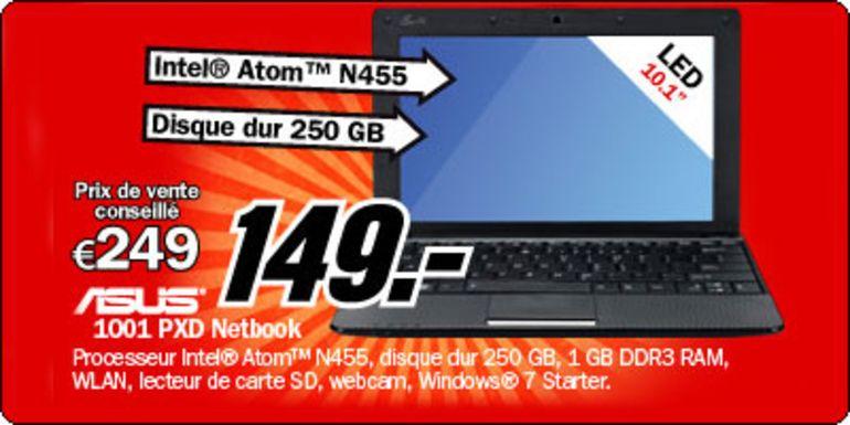 Le netbook ASUS EeePC 1001PXD à 149€ en Belgique