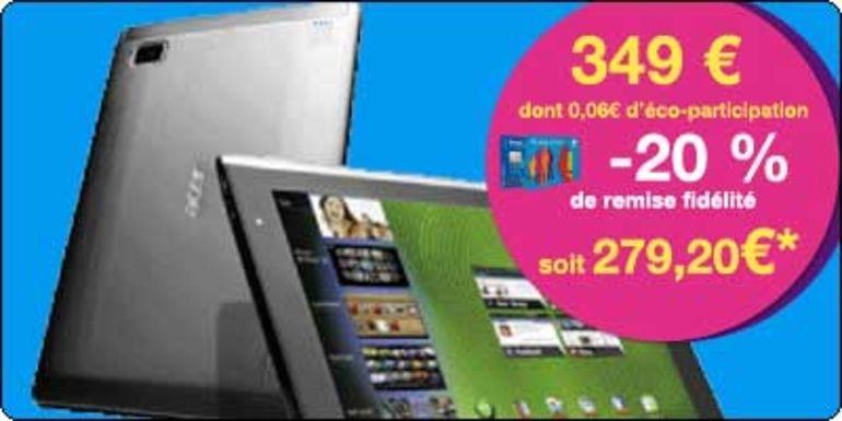 20% de reduction en bon d'achat sur la tablette Acer A500 chez Carrefour