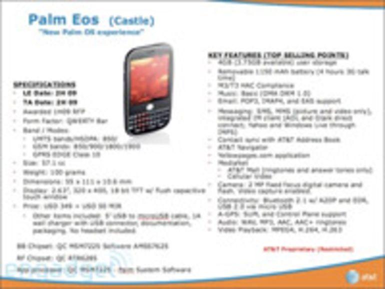 Le Palm Eos sera bien équipé du système d'exploitation WebOS