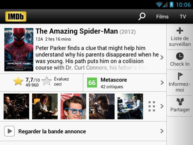Nouvelle version de l'application IMDb pour Android et iOS