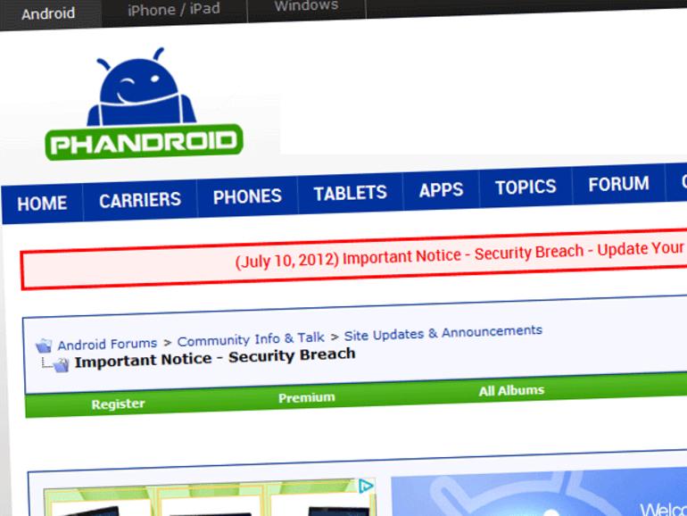 Le forum du site Phandroid piraté