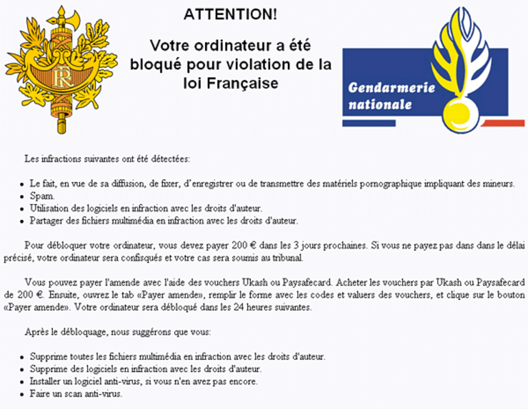 "Reveton alias ""virus FBI"" aux US, ""gendarmerie nationale"" en France"