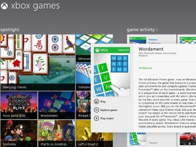 Windows 8 : 40 jeux intégrés