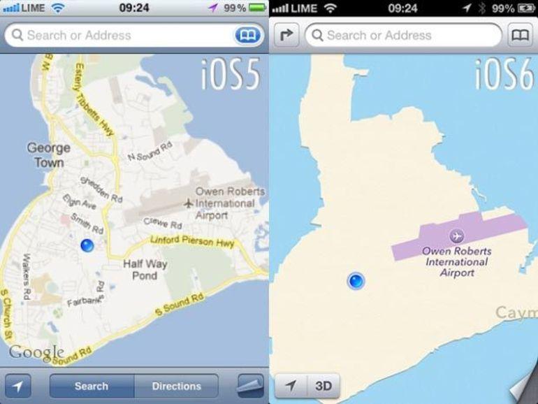 Le taux d'utilisation d'Apple Maps en chute libre