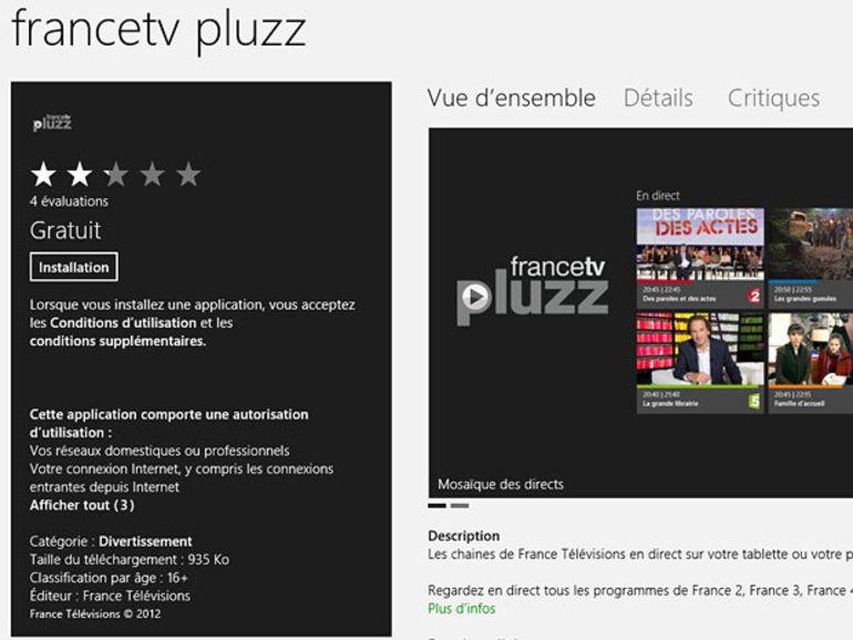 France TV : l'application Pluzz Windows 8 pour regarder la TV en direct