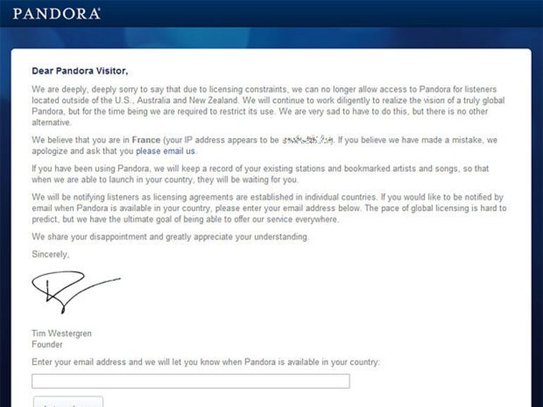 Pandora : la webradio n'est pas prête pour l'Europe