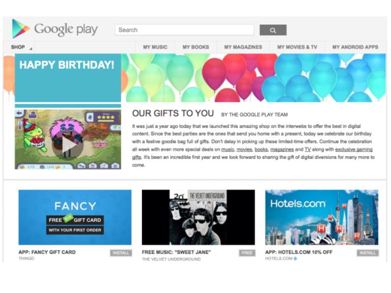 Une semaine d'offres spéciales à l'occasion du premier anniversaire de Google Play