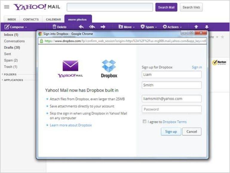 Yahoo! Mail intègre Dropbox pour faire passer les grosses pièces jointes