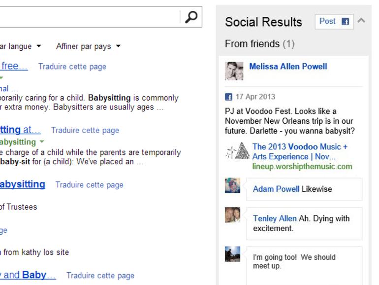 Bing : des messages d'amis Facebook dans les résultats de recherche