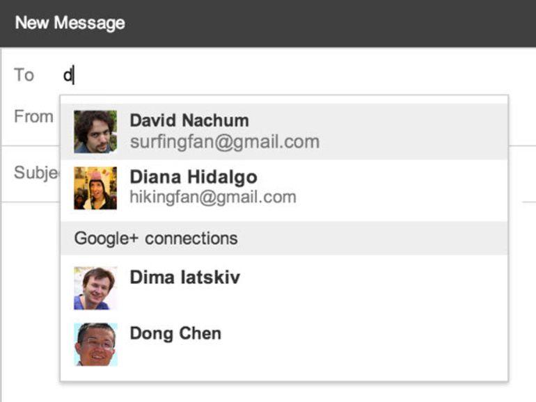 Gmail prend en charge les contacts Google+