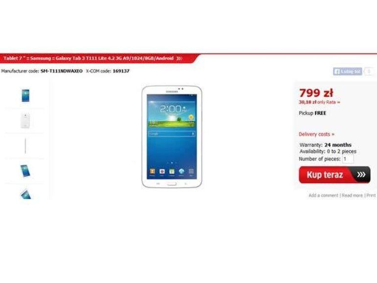 La tablette Samsung Galaxy Tab 3 Lite débusquée en Pologne