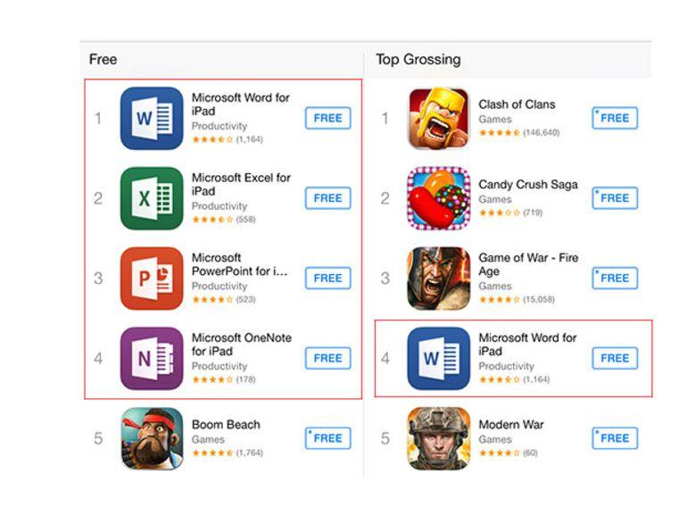 Office pour iPad fait un carton sur l'App Store