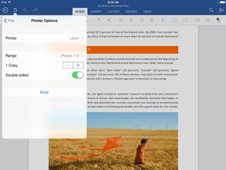 Office pour iPad enfin doté d'une fonction d'impression