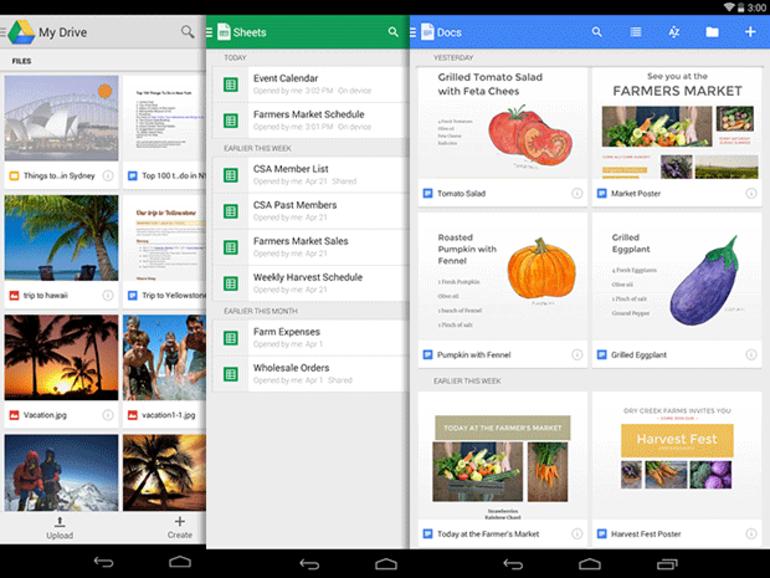 Google Drive Android : l'édition de documents via deux nouvelles applications