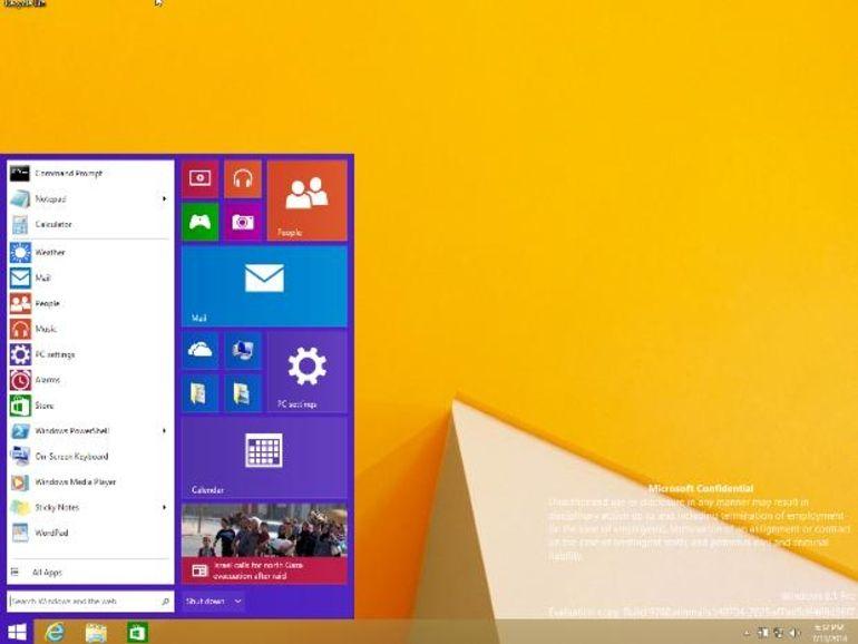 Windows 10, de la tuile dans le menu Démarrer