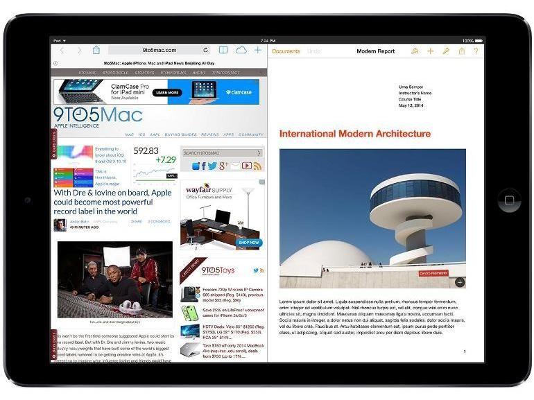 Apple iPad Air 2 et iOS 8.1: deux applications côte à côte sur l'écran, c'est pour quand ?