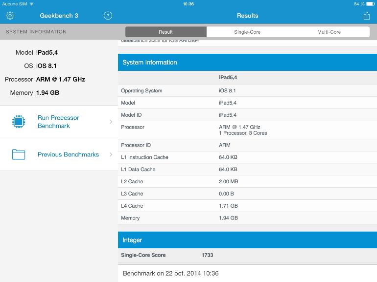 iPad Air 2 : il y a bien 2 Go de RAM  et un processeur triple cœur