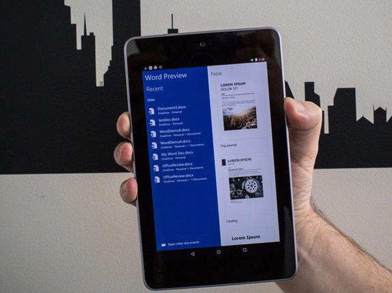 Microsoft Office finalisé sur les tablettes Android