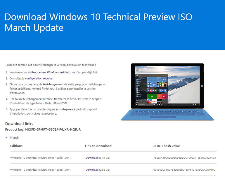 Windows 10 build 10041 : fichiers ISO, patchs et diffusion en mode lent