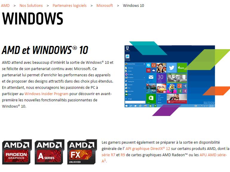 AMD évoque la date de sortie de Windows 10