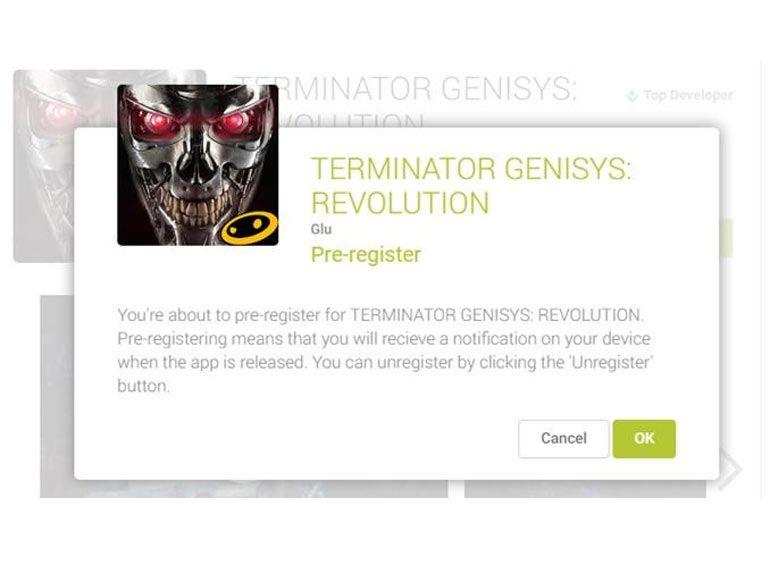 Google Play permet de s'inscrire pour être averti de la sortie d'applications et de jeux Android
