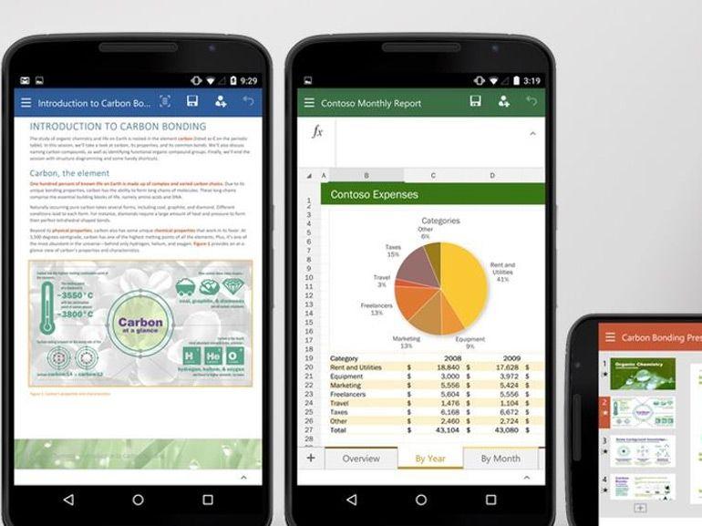 Word, Excel et PowerPoint en version finale sur les tablettes et smartphones Android