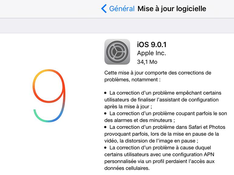 iOS 9.0.1 règle le problème de blocage après la mise à jour