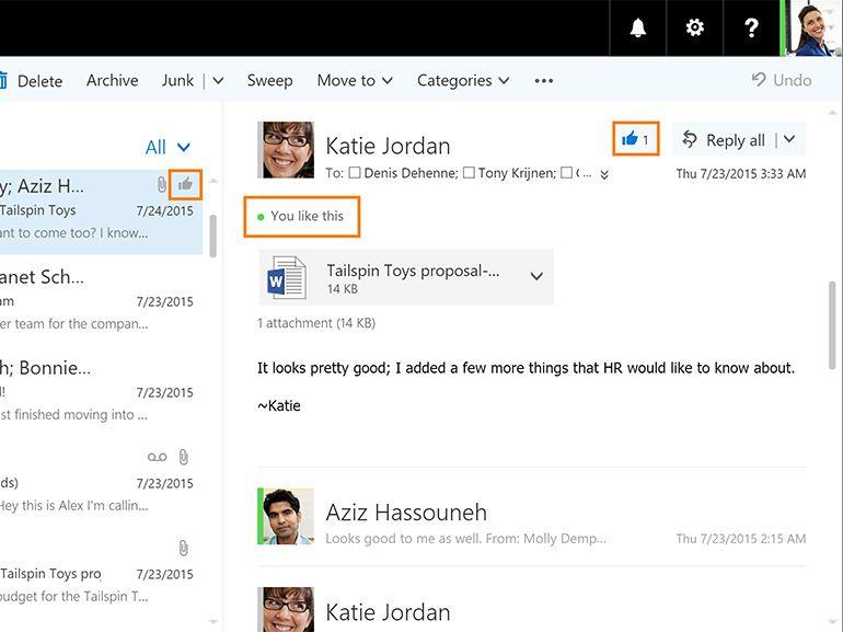 """Outlook : le """"j'aime"""" et les mentions arrivent dans Office 365"""