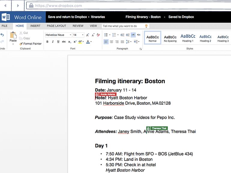 Dropbox et d'autres services intègrent Office Online et Outlook.com