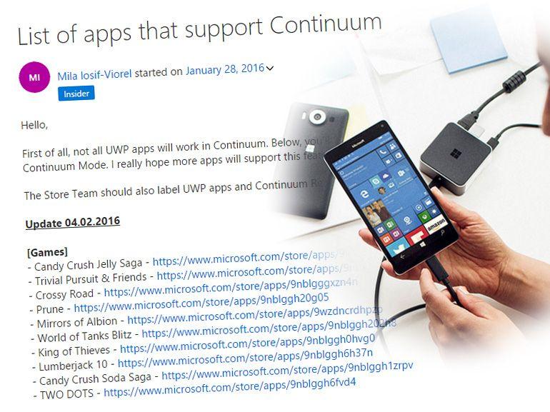 Windows 10 Continuum : plus de 50 applis compatibles