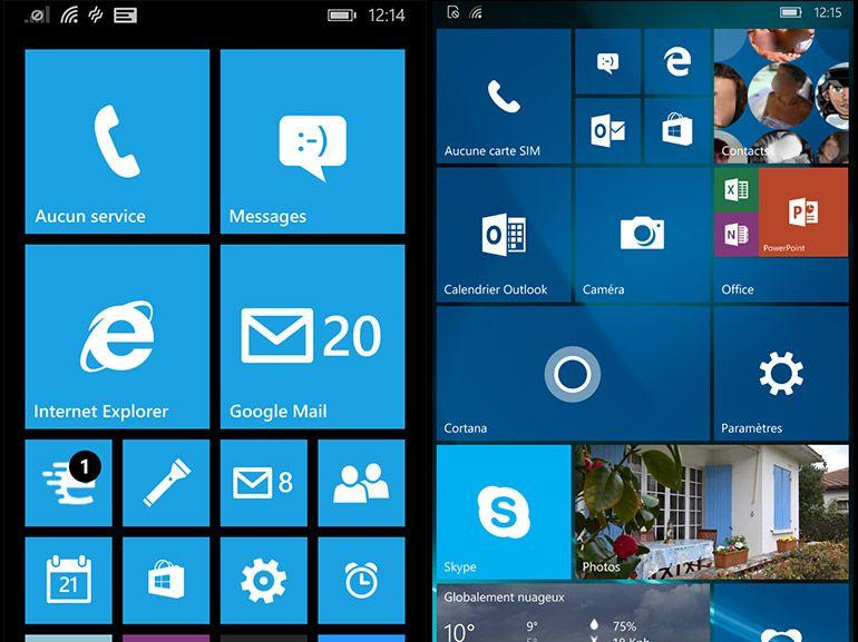 De Windows Phone 8.1 à Windows 10 mobile en images