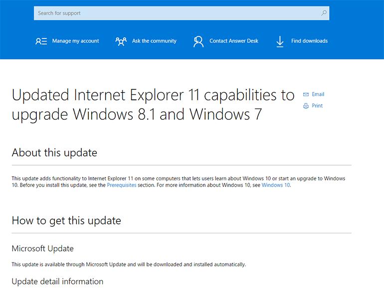 Windows 10 : un peu de pub pour la mise à niveau dans Internet Explorer ?