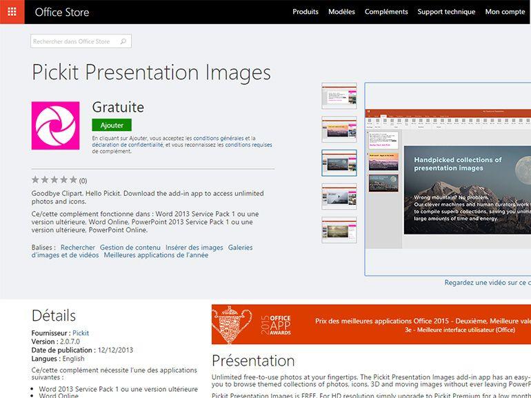 Pickit : un complément Office pour trouver et intégrer des images