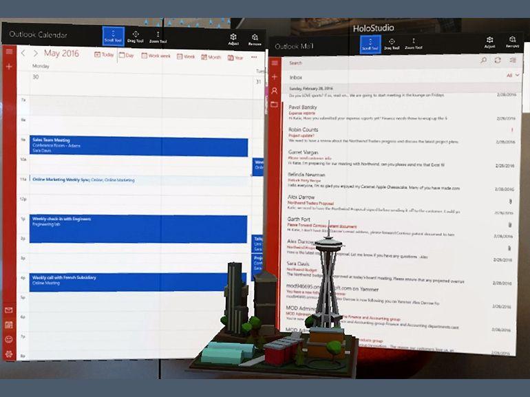 Outlook et son calendrier prennent place dans Hololens