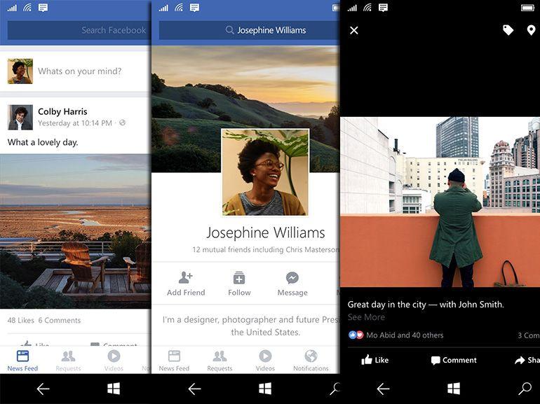 L'appli Facebook bêta disponible pour Windows 10 mobile