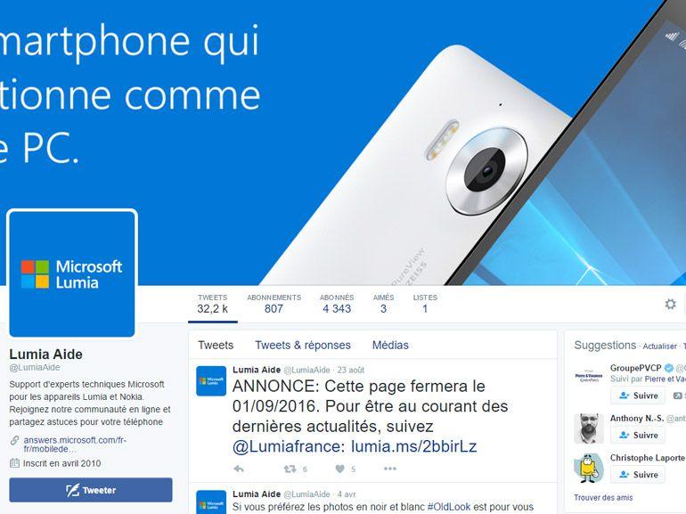 Microsoft Lumia : les comptes Twitter de support vont disparaitre