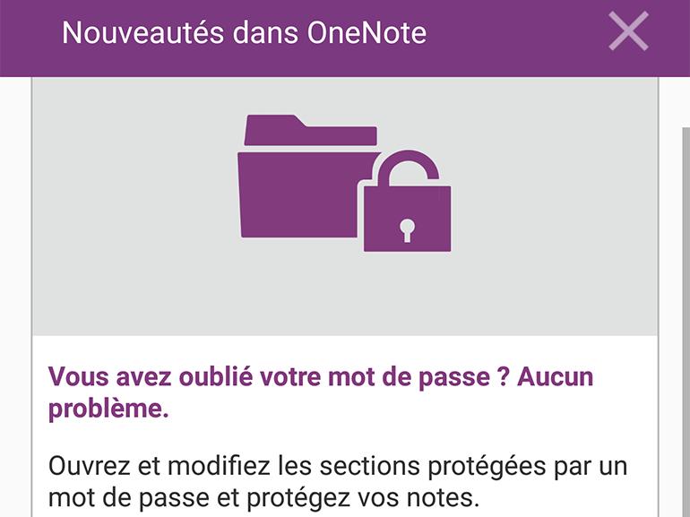OneNote Android : notes audio et support des mots de passe
