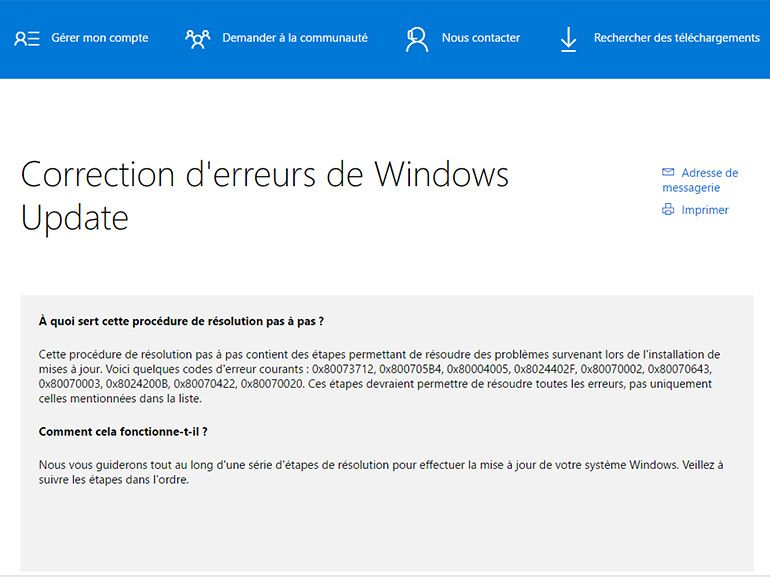Windows : une page de support pour régler les problèmes liés à Windows Update