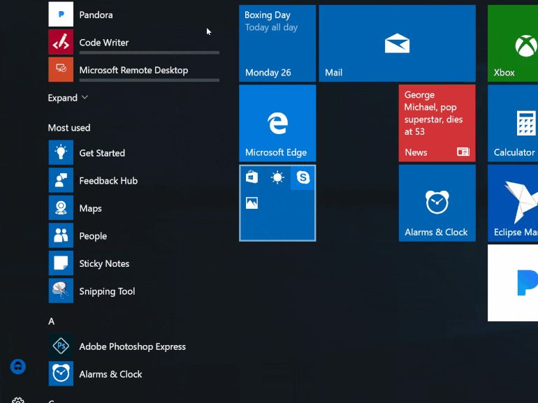 Windows 10 build 14997 : la combinaison de tuiles au programme