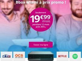 Bouygues propose sa Bbox Miami ADSL et Fibre à 19,99€ au lieu de 26,99€