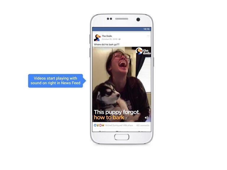 Sur Facebook, les vidéos (et les pubs ?) vont maintenant se lire automatiquement... avec le son