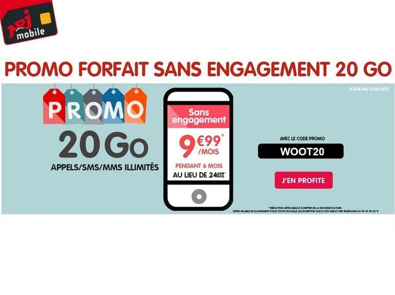 NRJ Mobile : le forfait 20 Go est à 9.99€  pendant 6 mois au lieu de 24.99€