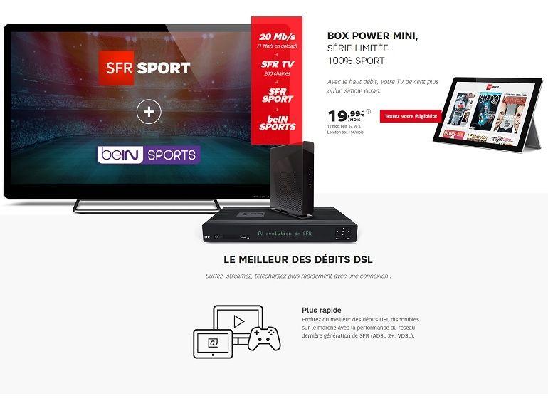 Box Internet SFR : forfait limitée avec BeIN Sport et SFR Sport inclus pour 25€ / mois