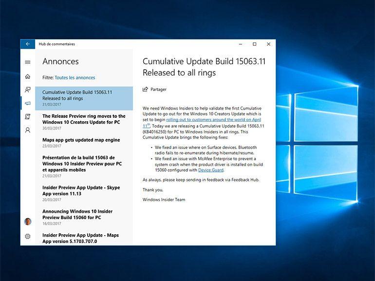 Windows 10 build 15063.11 : premiers correctifs de la Creators Update